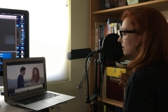 Alessia Franchin during ADR for The Italian